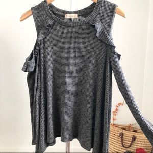 Altar'd State Gray Ruffle Cold Shoulder Top